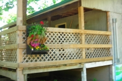 Arrowhead Campground Rustic Cabin front porch side view Eminence MO 800 x 600